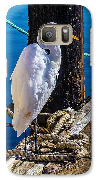 Great White Heron On Boat Dock Galaxy S7 Case