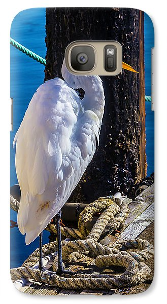 Great White Heron On Boat Dock Galaxy S7 Case by Garry Gay