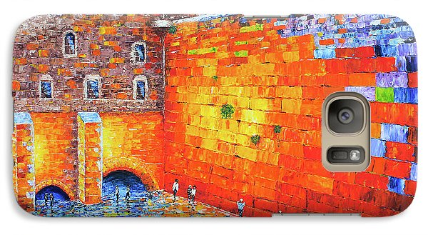 Galaxy Case featuring the painting Wailing Wall Greatness In The Evening Jerusalem Palette Knife Painting by Georgeta Blanaru