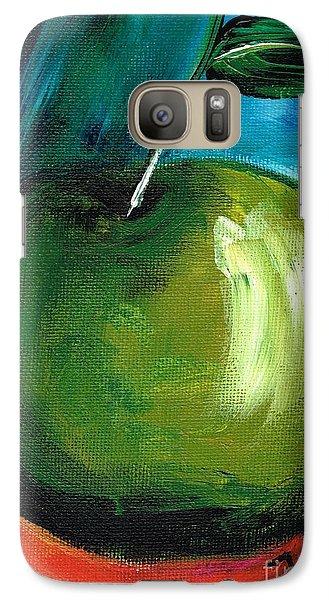 Galaxy Case featuring the painting Green Apple by Jolanta Anna Karolska