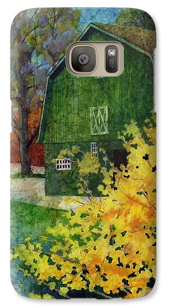 Galaxy Case featuring the painting Green Barn by Hailey E Herrera