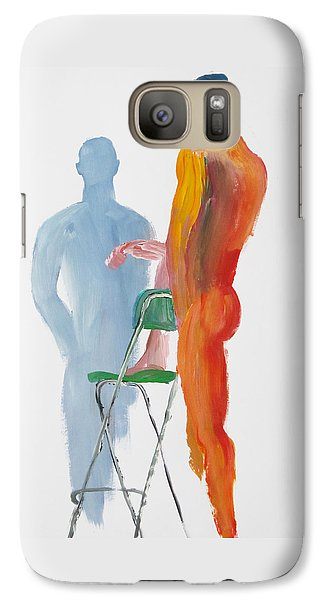 Galaxy Case featuring the painting Green Chair Blue Shadow by Shungaboy X
