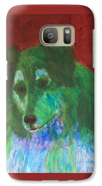 Galaxy Case featuring the painting Green Collie by Donald J Ryker III