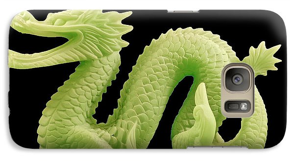 Galaxy S7 Case featuring the photograph Green Dragon On Black by Bill Barber