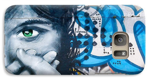 Galaxy Case featuring the painting Green-eye Graffiti Girl On The Brick Wall by Yurix Sardinelly