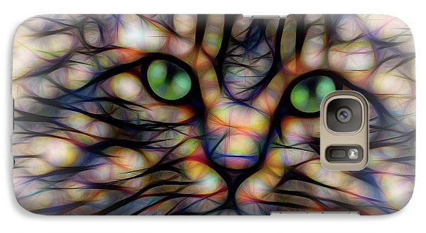 Galaxy Case featuring the digital art Green Eye Kitty Square by Terry DeLuco
