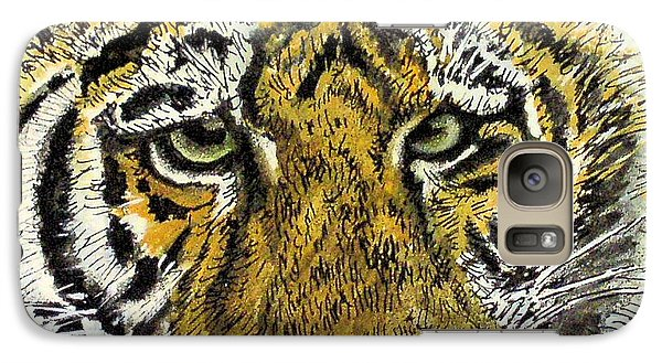 Galaxy Case featuring the painting Green Eyed Tiger by Laurie Rohner
