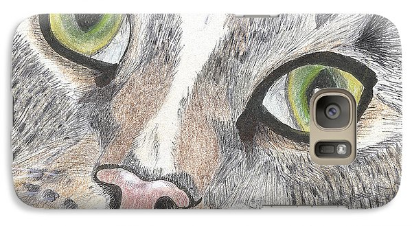 Galaxy Case featuring the drawing Green Eyes by Arlene Crafton
