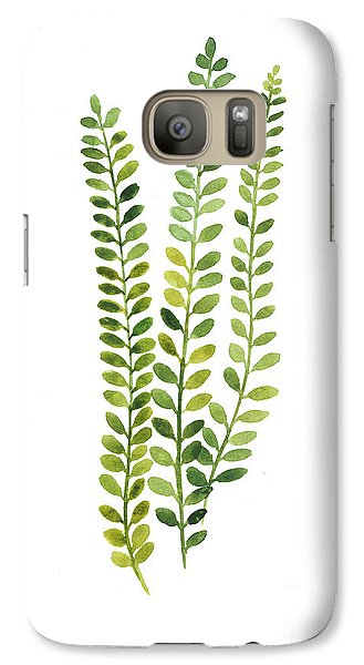 Green Fern Watercolor Minimalist Painting Galaxy S7 Case by Joanna Szmerdt
