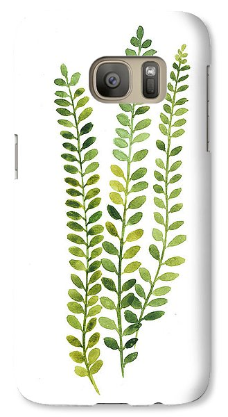 Garden Galaxy S7 Case - Green Fern Watercolor Minimalist Painting by Joanna Szmerdt