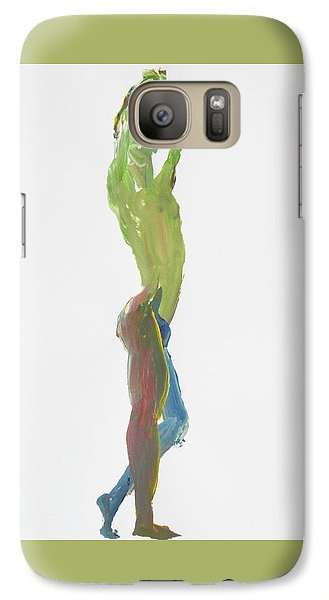 Galaxy Case featuring the painting Green Gesture 1 Profile by Shungaboy X