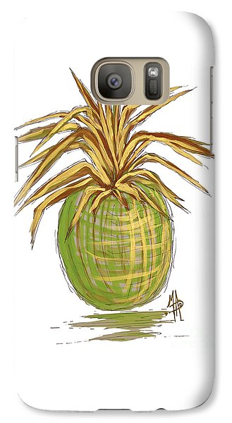 Green Gold Pineapple Painting Illustration Aroon Melane 2015 Collection By Madart Galaxy S7 Case by Megan Duncanson