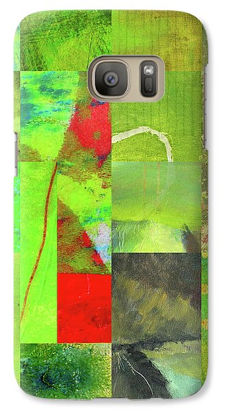 Galaxy S7 Case featuring the digital art Green Grid by Nancy Merkle