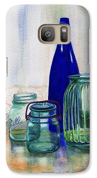 Galaxy Case featuring the painting Green Jars Still Life by Marilyn Smith