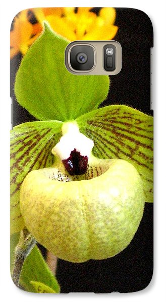 Galaxy Case featuring the photograph Green Ladyslipper Orchid by Alfred Ng
