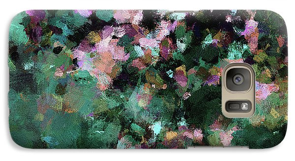 Galaxy Case featuring the painting Green Landscape Painting In Minimalist And Abstract Style by Ayse Deniz