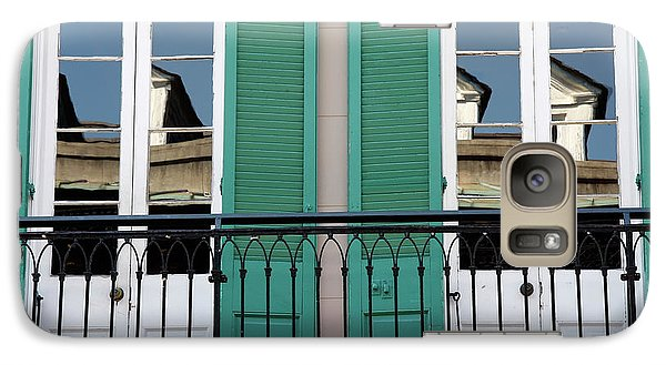 Galaxy Case featuring the photograph Green Shutters Reflections by KG Thienemann