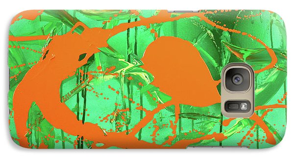 Galaxy Case featuring the painting Green Spill by Thomas Blood