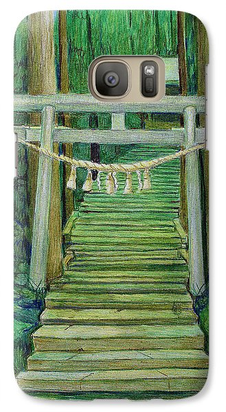 Galaxy Case featuring the drawing Green Stairway by Tim Ernst