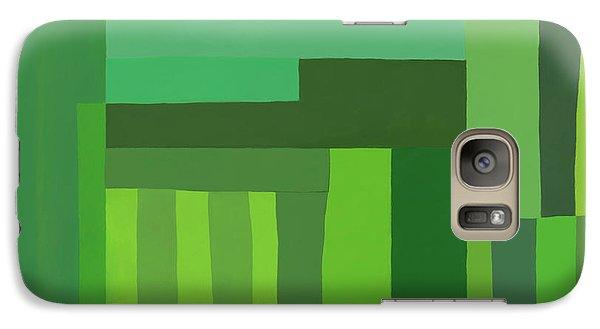 Galaxy Case featuring the digital art Green Stripes 3 by Elena Nosyreva