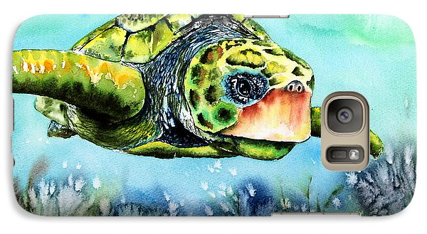 Galaxy Case featuring the painting Green Turtle by Maria Barry