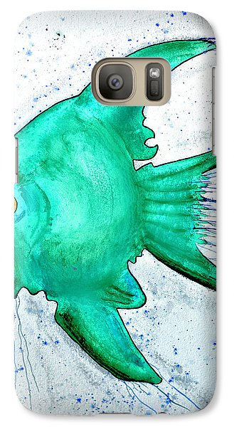 Galaxy Case featuring the mixed media Greenfish by Walt Foegelle