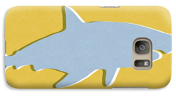 Sharks Galaxy S7 Case - Grey And Yellow Shark by Linda Woods