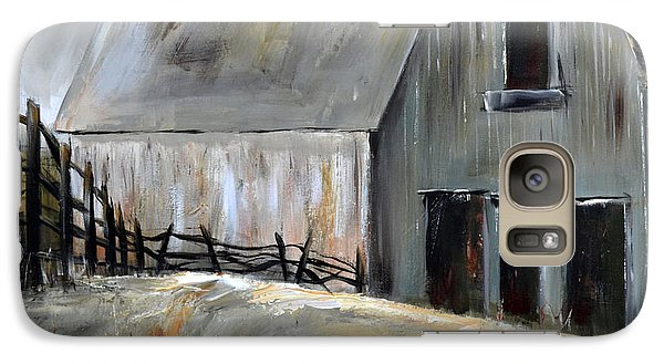 Galaxy Case featuring the painting Grey Barn by Cher Devereaux