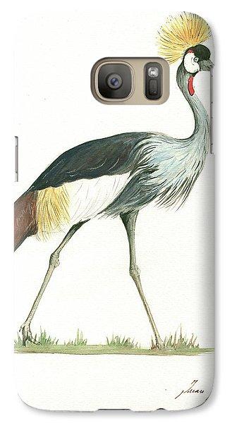Crane Galaxy S7 Case - Grey Crowned Crane by Juan Bosco