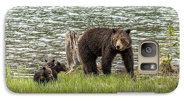 Galaxy Case featuring the photograph Grizzly Mom And Cubs by Yeates Photography