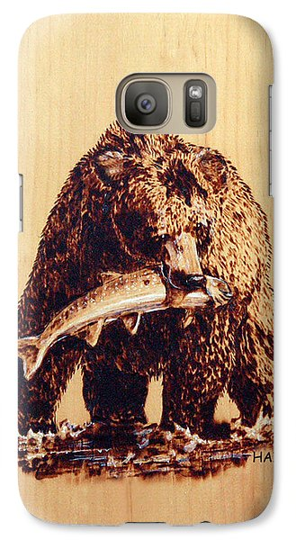 Galaxy Case featuring the pyrography Grizzly by Ron Haist