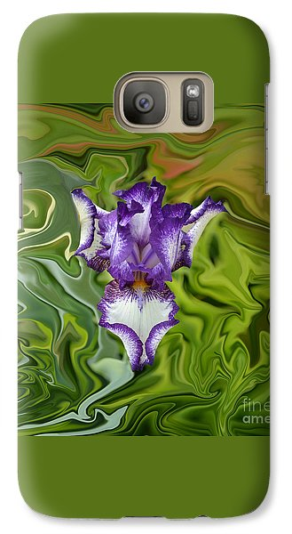 Galaxy Case featuring the photograph Groovy Purple Iris by Rebecca Margraf
