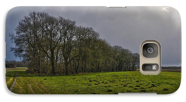 Galaxy Case featuring the photograph Group Of Trees Against A Dark Sky by Frans Blok