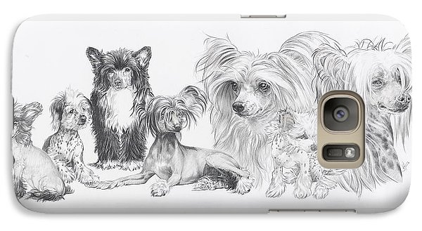 Galaxy Case featuring the drawing Growing Up Chinese Crested And Powderpuff by Barbara Keith