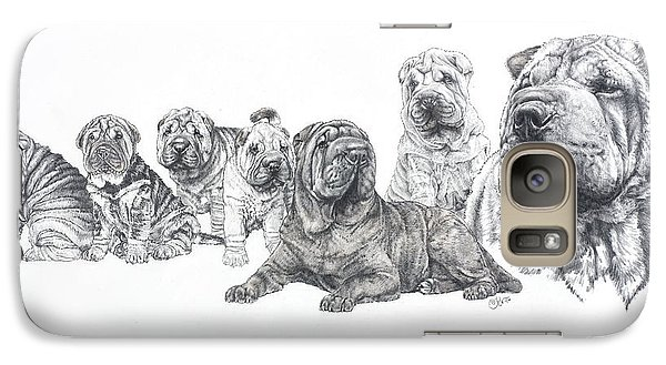Galaxy Case featuring the drawing Growing Up Chinese Shar-pei by Barbara Keith