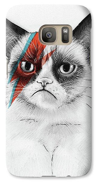 Grumpy Cat As David Bowie Galaxy S7 Case by Olga Shvartsur