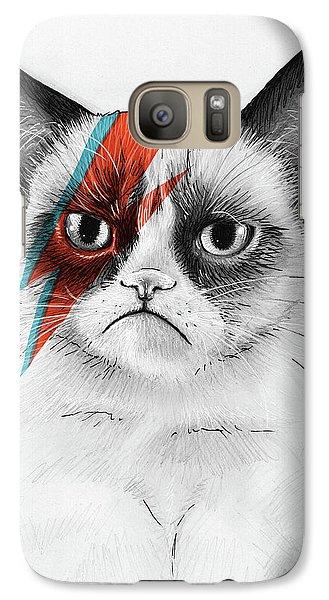 Grumpy Cat As David Bowie Galaxy Case by Olga Shvartsur