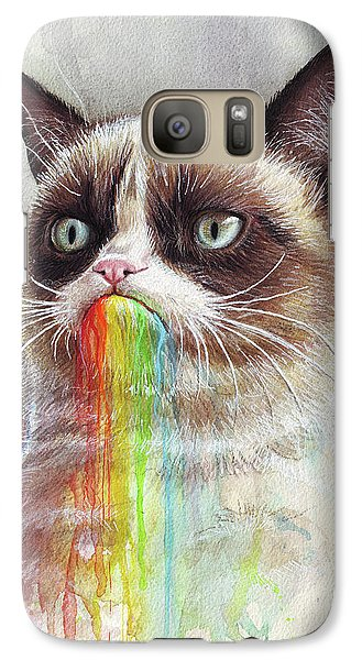 Cat Galaxy S7 Case - Grumpy Cat Tastes The Rainbow by Olga Shvartsur