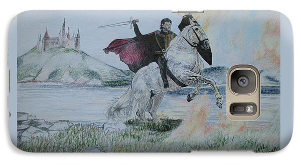 Galaxy Case featuring the drawing Guardian Of The Castle by Melita Safran