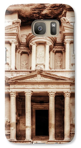 Galaxy Case featuring the photograph Guarding The Petra Treasury by Nicola Nobile