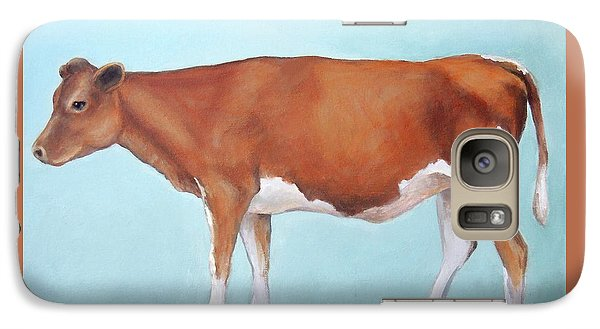 Cow Galaxy S7 Case - Guernsey Cow Standing Light Teal Background by Dottie Dracos