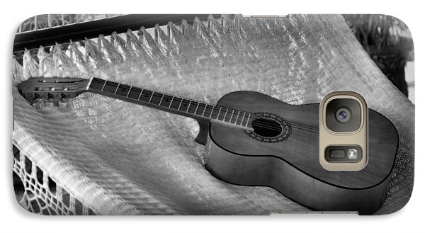 Galaxy Case featuring the photograph Guitar Monochrome by Jim Walls PhotoArtist