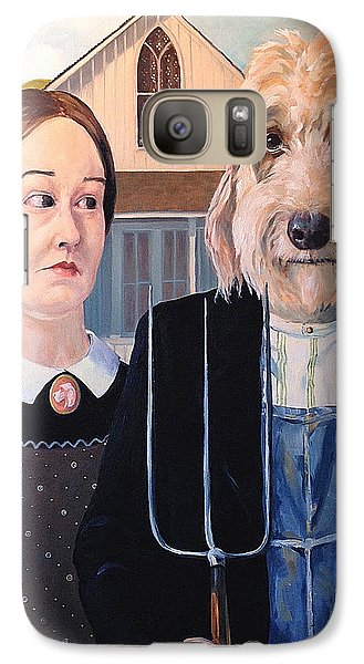 Galaxy Case featuring the painting Gunther Goes Goth by Diane Daigle