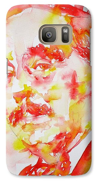Galaxy Case featuring the painting H. G. Wells - Watercolor Portrait by Fabrizio Cassetta