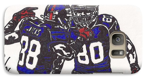 Galaxy Case featuring the drawing Hakeem Nicks And Victor Cruz by Jeremiah Colley