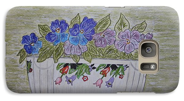 Galaxy Case featuring the painting Hall China Crocus Bowl With Violets by Kathy Marrs Chandler