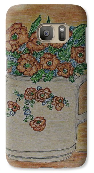 Galaxy Case featuring the painting Hall China Orange Poppy And Poppies by Kathy Marrs Chandler
