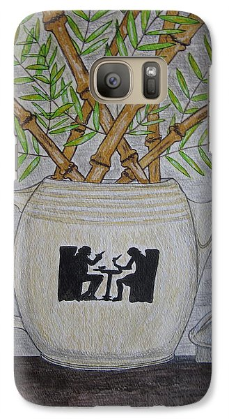 Galaxy Case featuring the painting Hall China Silhouette Pitcher With Bamboo by Kathy Marrs Chandler