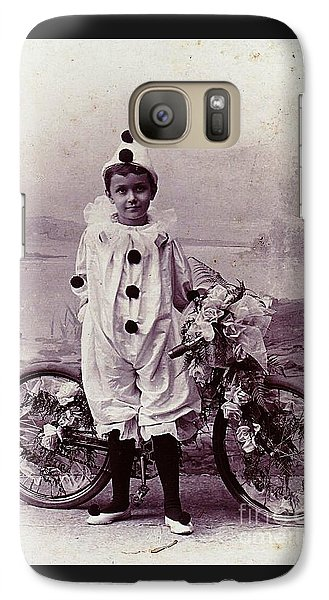 Galaxy Case featuring the photograph Halloween Pierrot Boy With Antique Bicycle Circa 1890 by Peter Gumaer Ogden