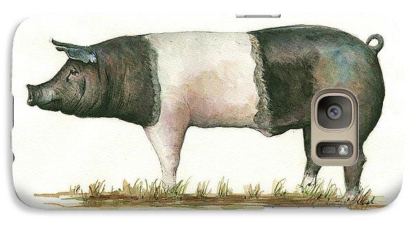 Pig Galaxy S7 Case - Hampshire Pig by Juan Bosco